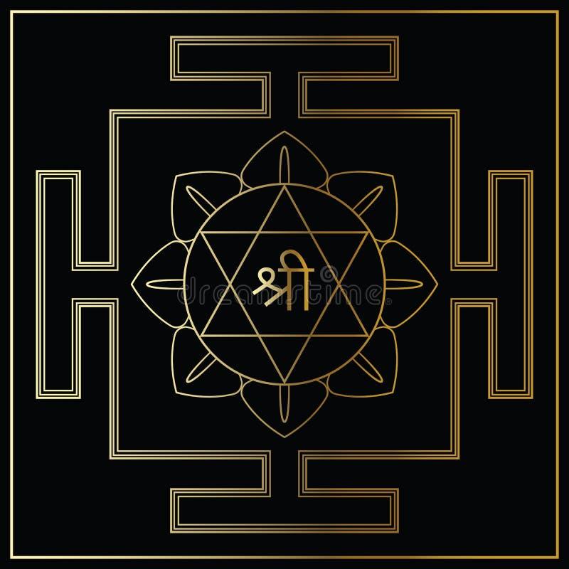 Богиня Lakshmi Yantra иллюстрация вектора