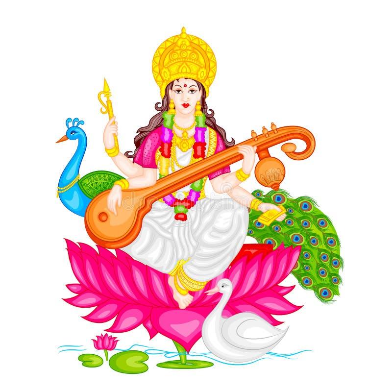 Богиня Saraswati иллюстрация штока