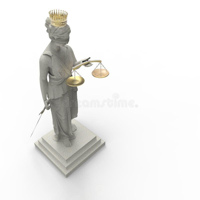 Богиня Themis правосудия с золотым переводом кроны 3d стоковые изображения