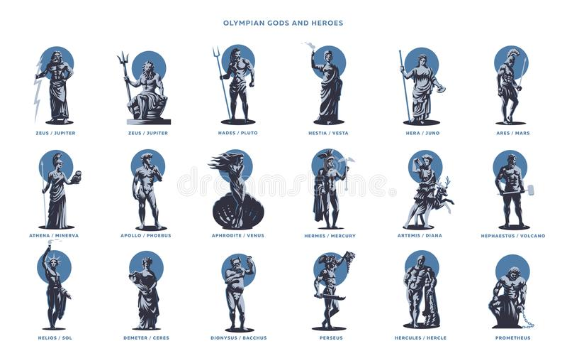 Боги и герои Olimpian иллюстрация штока