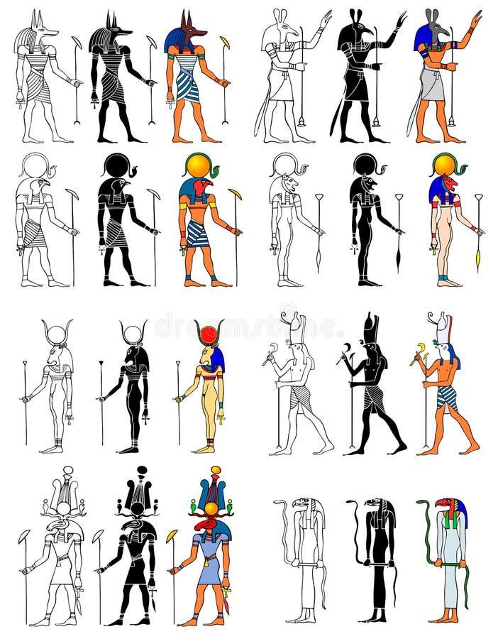 Боги и Goddness древнего египета иллюстрация штока