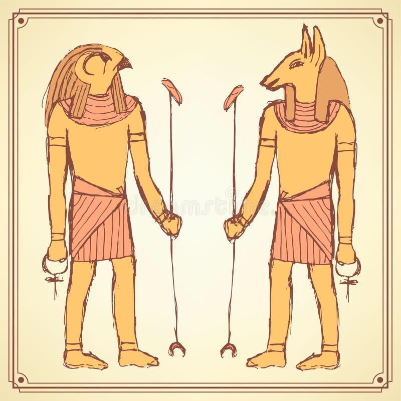 Боги эскиза египетские в винтажном стиле иллюстрация вектора