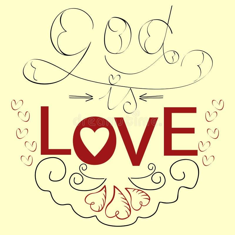 Бог библии литерности влюбленность с сердцами бесплатная иллюстрация