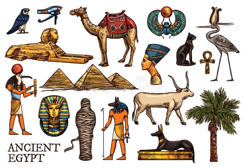 Бог вероисповедания древнего египета, пирамида pharaon, мумия иллюстрация вектора