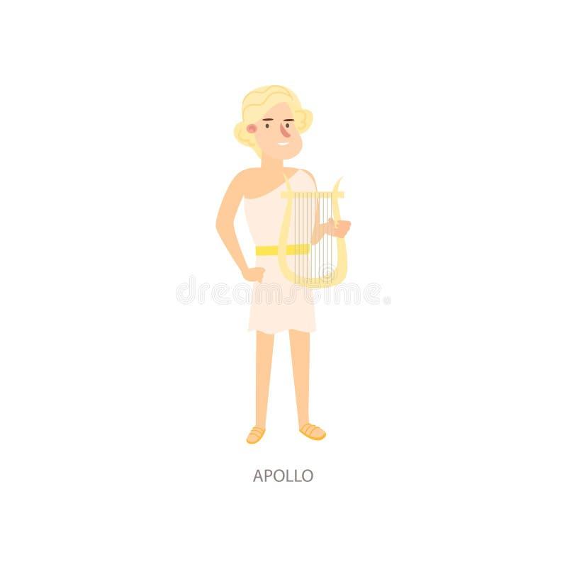Бог грека Аполлона мифологии милого белокурого человека старый бесплатная иллюстрация