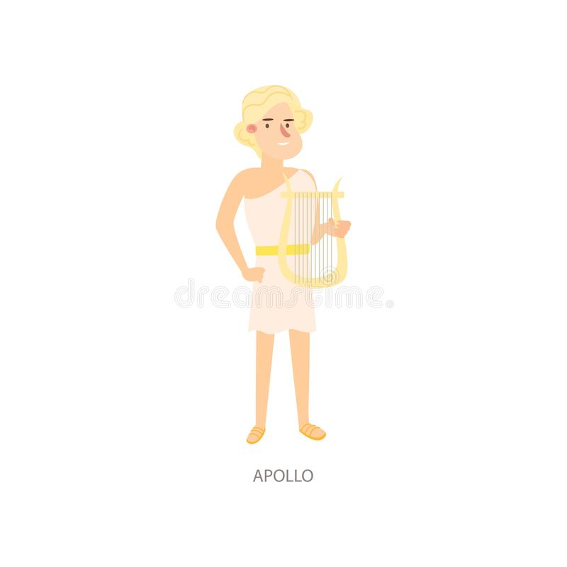 Бог грека Аполлона мифологии милого белокурого человека старый иллюстрация штока