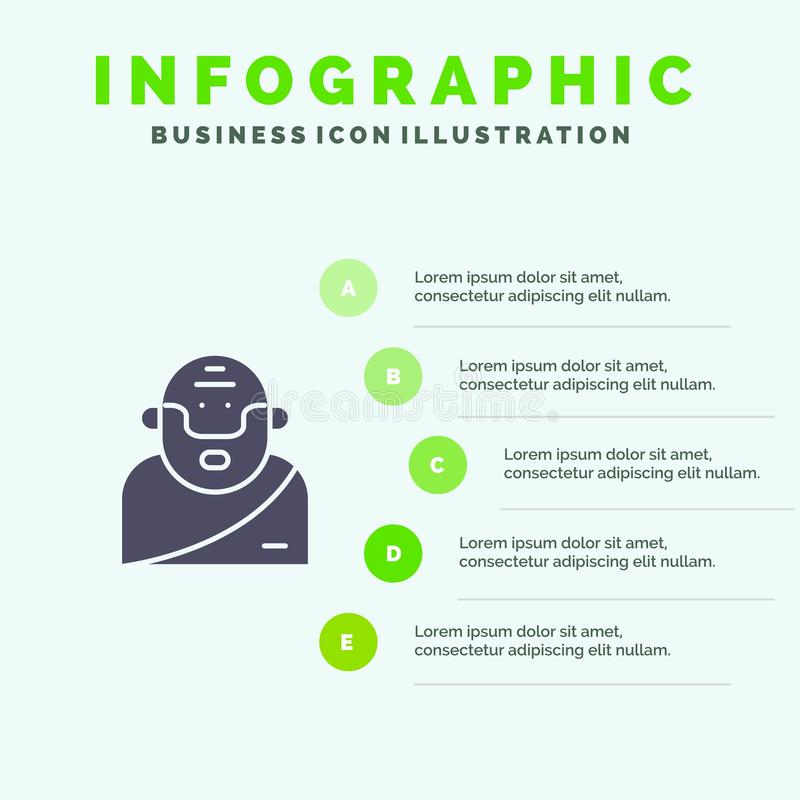 Бог, грек, мифология, старая твердая предпосылка представления шагов Infographics 5 значка бесплатная иллюстрация