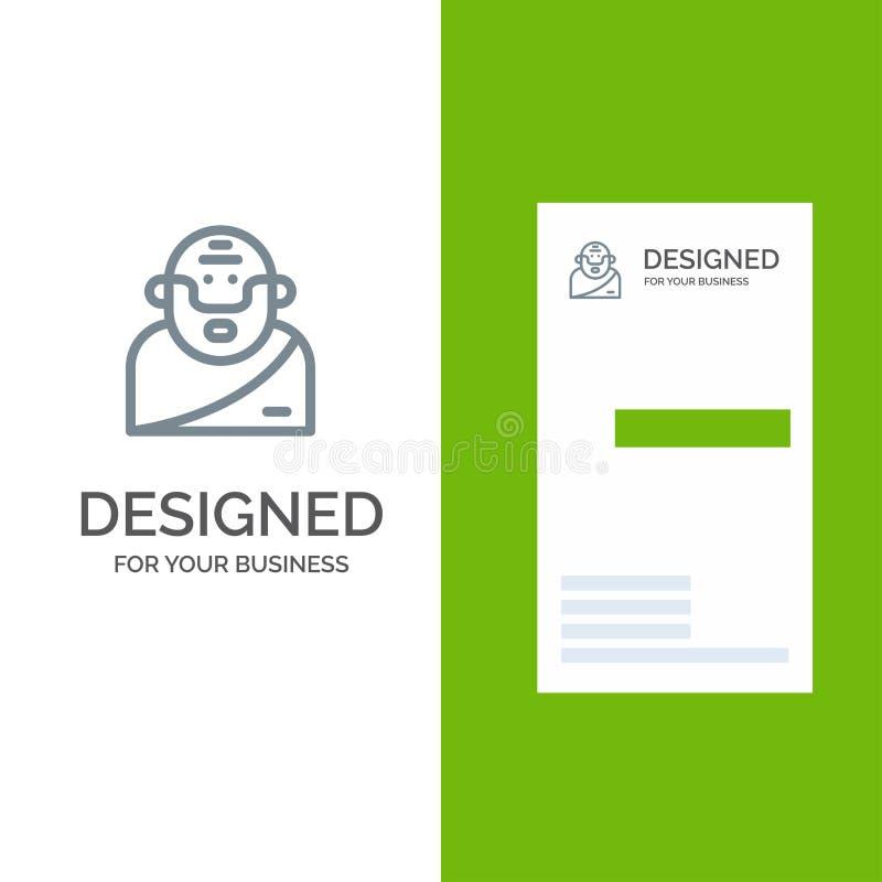 Бог, грек, мифология, старый серый дизайн логотипа и шаблон визитной карточки иллюстрация вектора