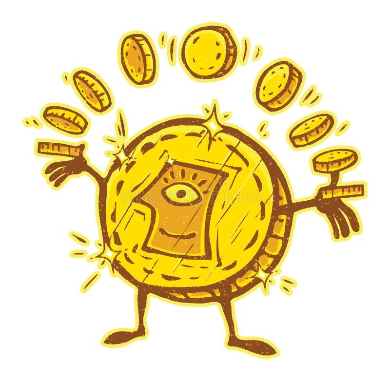 Бог золотых монет денег бесплатная иллюстрация