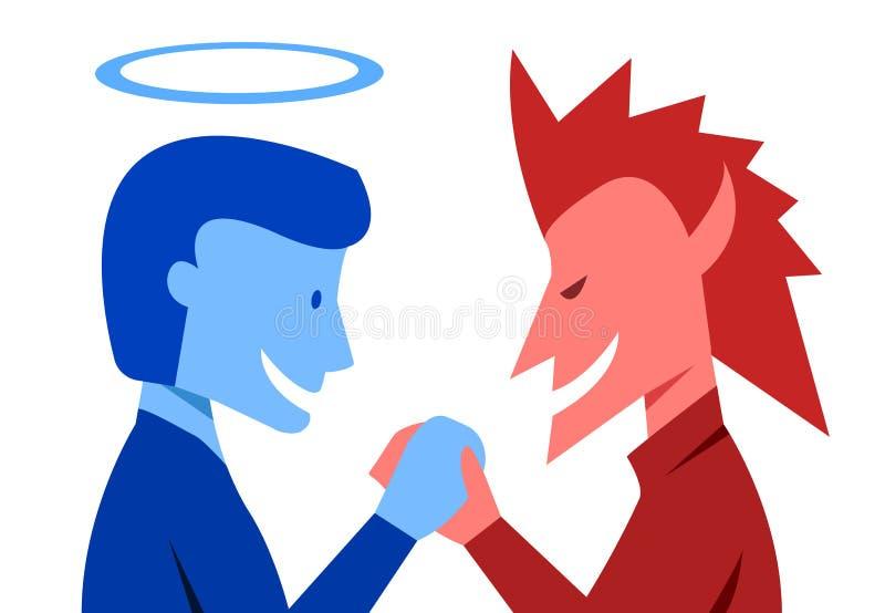 Бог и зло трясут руки совместно, вектор бесплатная иллюстрация