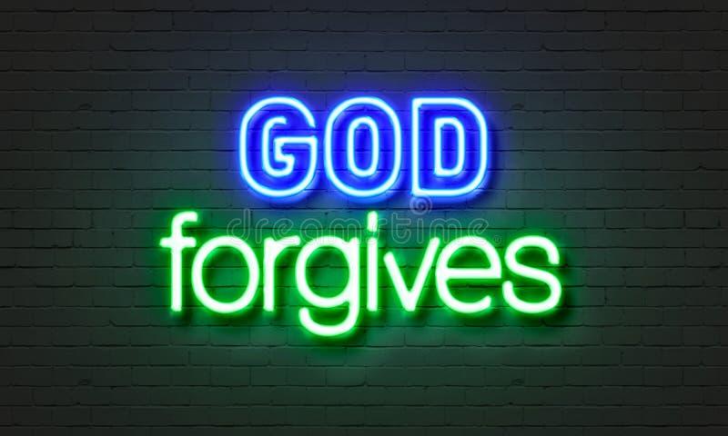 Бог прощает неоновой вывеске на предпосылке кирпичной стены иллюстрация штока