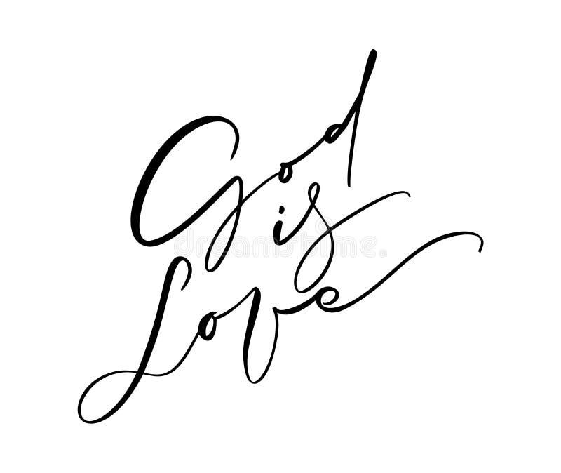 Бог текст литерности каллиграфии любов написанный рукой Цитата христианства для дизайна, знамени, верхнего слоя фото плаката, оде бесплатная иллюстрация