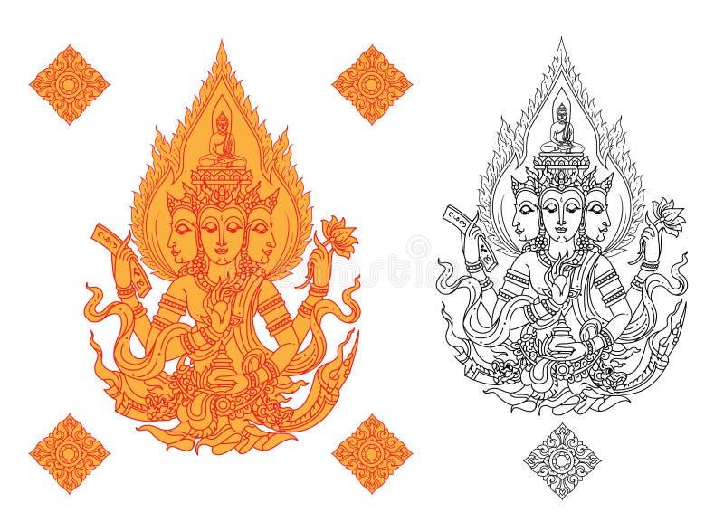 Бог хиндо พระพหรม иллюстрация вектора