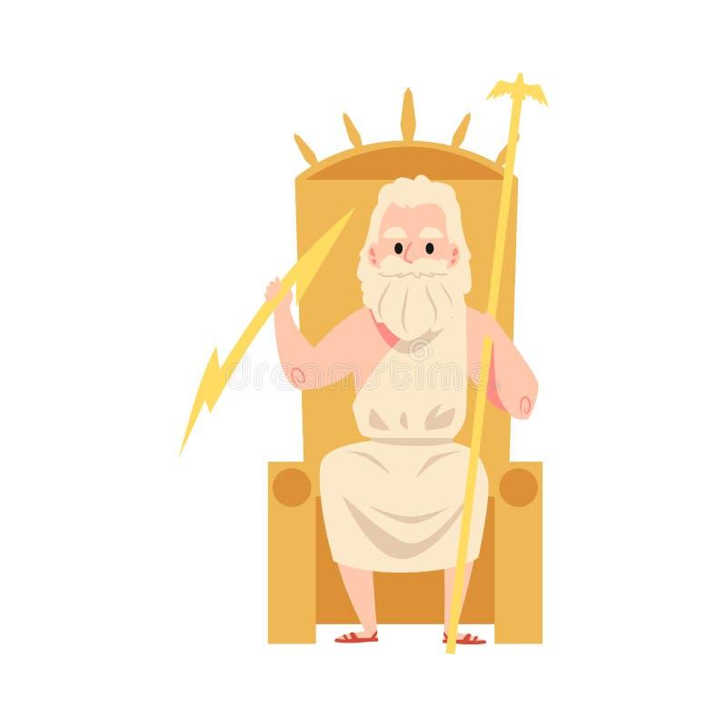 Бог человека или Зевса греческий сидит на стиле мультфильма штата и молнии удерживания трона иллюстрация штока
