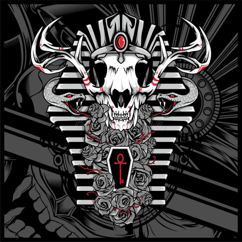 Бог Anubis умерших, со змейкой - вектором иллюстрация вектора