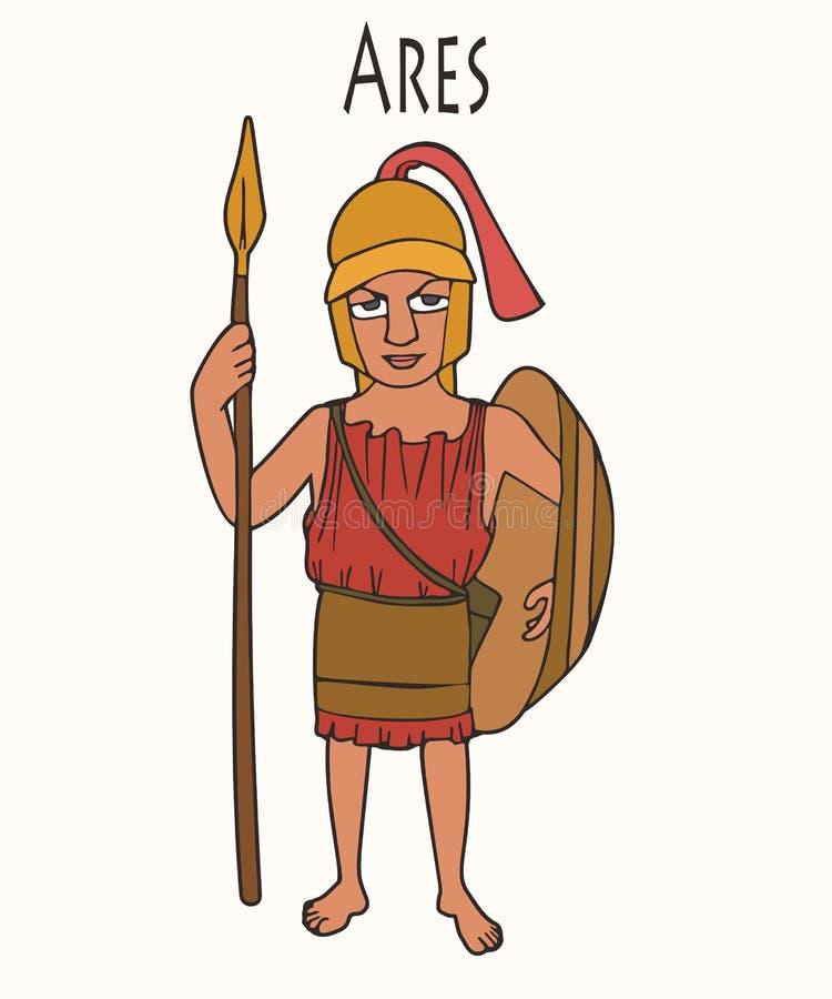 Бог Ares древнегреческого мультфильма бесплатная иллюстрация