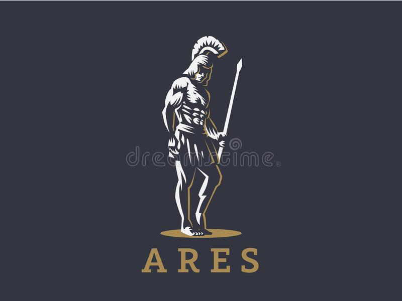 Бог Ares или Марс с копьем иллюстрация штока