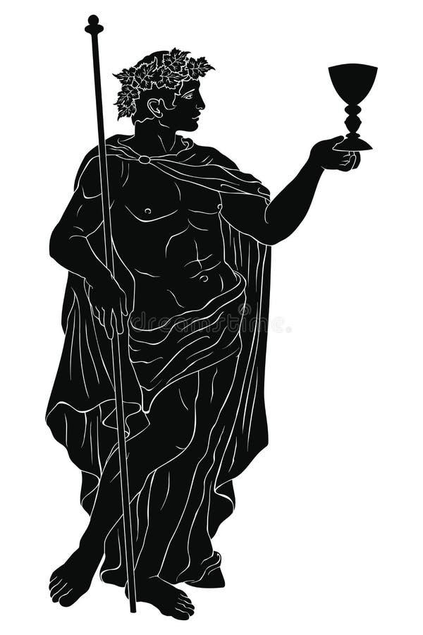 Бог Dionysus древнегреческого бесплатная иллюстрация