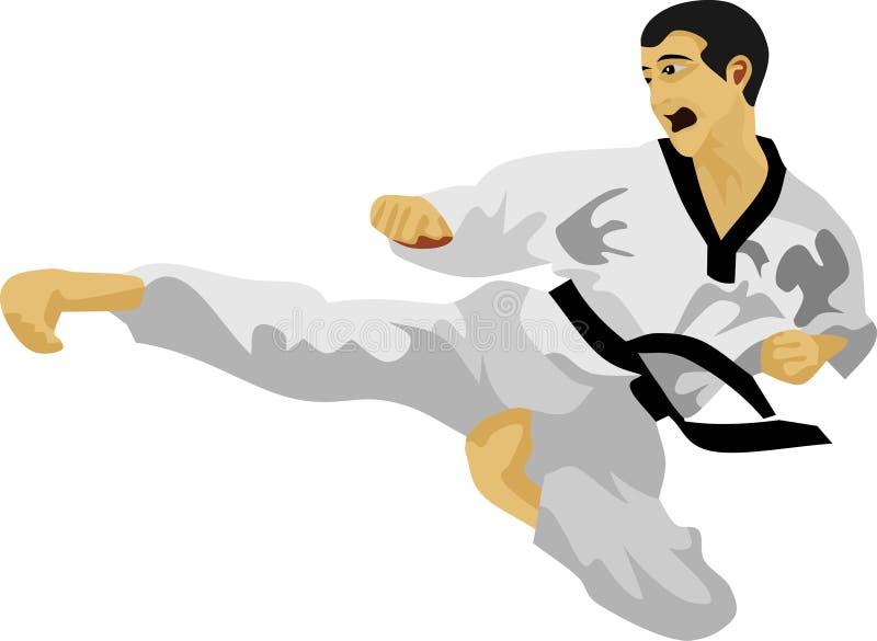 Боевые искусства корейца пинком Тхэквондо иллюстрация вектора