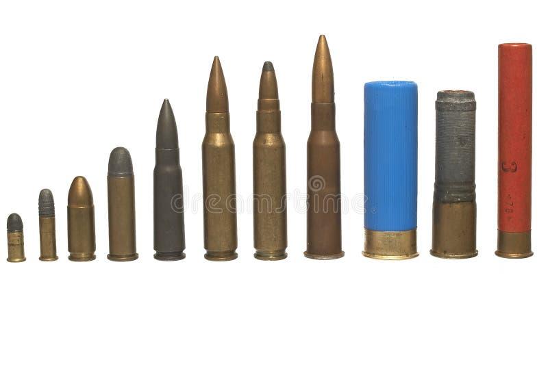 боеприпасыы различные изолировали стоковая фотография rf