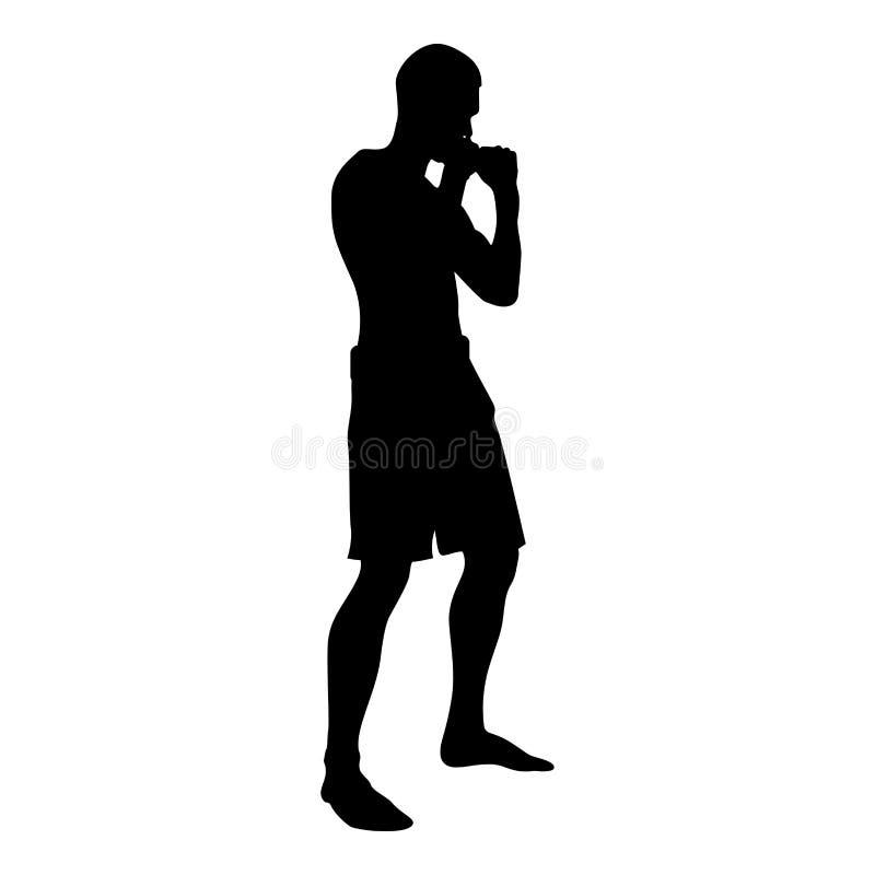 Боец в воюя человеке позиции делая тренировки резвится значка взгляда со стороны силуэта разминки действия иллюстрация цвета мужс бесплатная иллюстрация