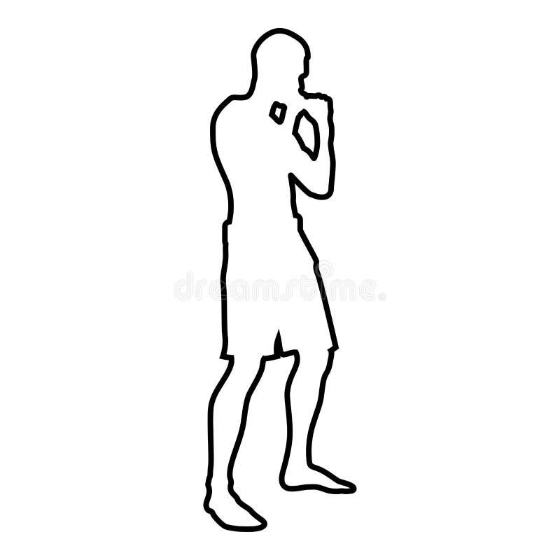Боец в воюя человеке позиции делая тренировки резвится значка взгляда со стороны силуэта разминки действия план цвета мужского че иллюстрация вектора
