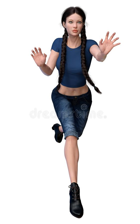 Боец женщины фантазии CGI городской в протягиванных джинсах и руках иллюстрация штока