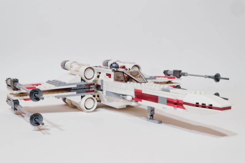Боец X-крыла Звездных войн Lego стоковое фото rf