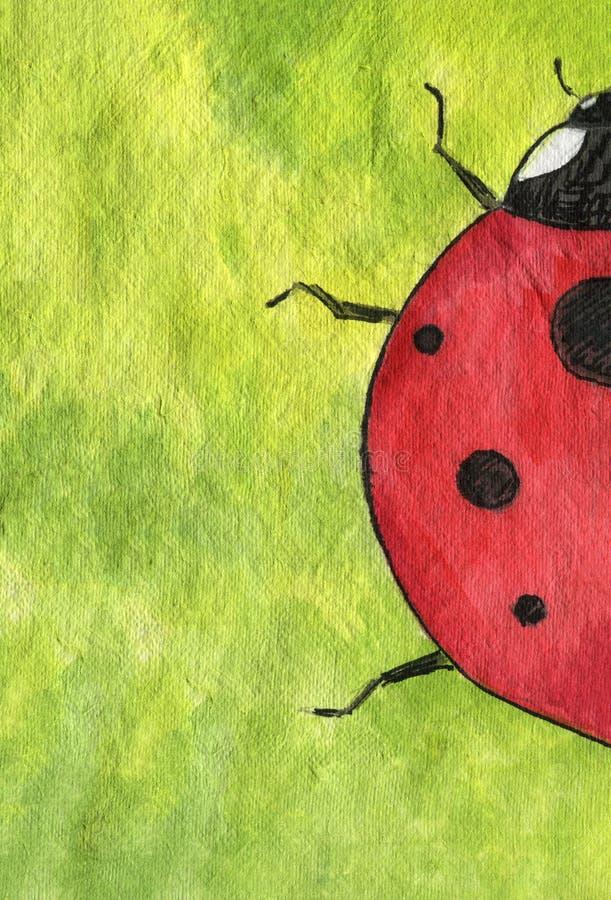 Божья коровка Ladybug на яркой ой-зелен и желтой предпосылке бесплатная иллюстрация
