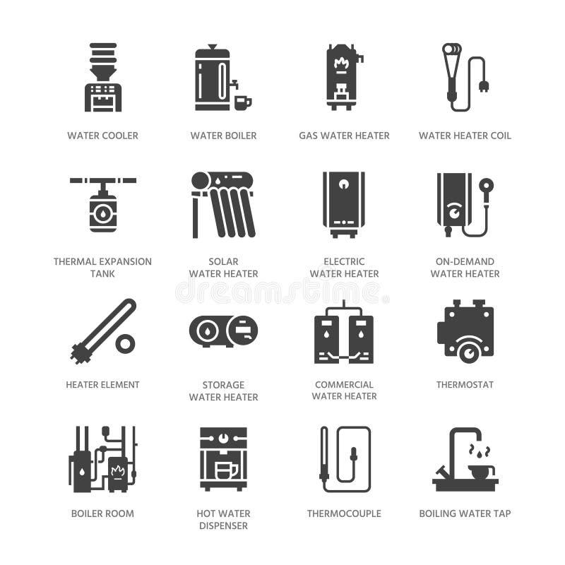 Бойлер, термостат, подогреватели электрического газа солнечные и другие значки глифа приборов топления дома Магазин оборудования бесплатная иллюстрация