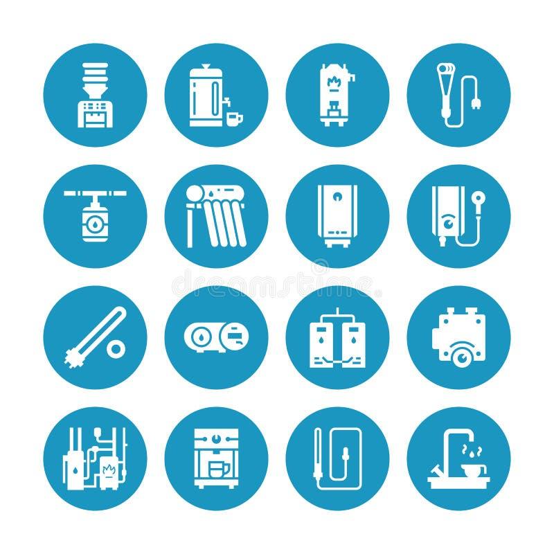 Бойлер, термостат, подогреватели электрического газа солнечные и другие значки глифа приборов топления дома Магазин оборудования иллюстрация вектора