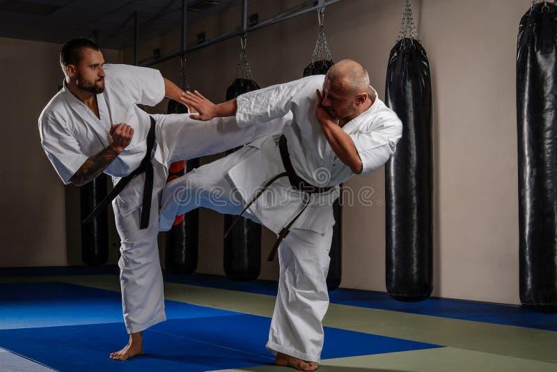 2 бойца карате в кимоно показывая технический навык в клубе боя стоковая фотография