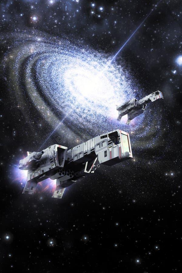 Бойцы и галактика космического корабля иллюстрация вектора