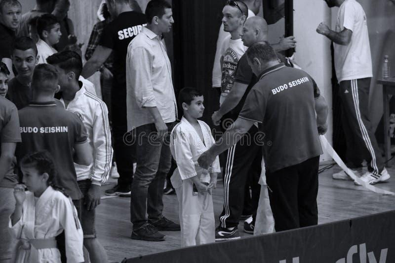 Бойцы с Hanshi на румынском чемпионате, младшие Jiu Jitsu, май 2018 стоковое изображение rf