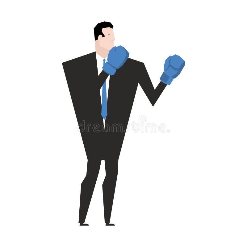 Бой дела перчатки принципиальной схемы конкуренции бизнесмена бокса агрессивности Бой офиса иллюстрация вектора