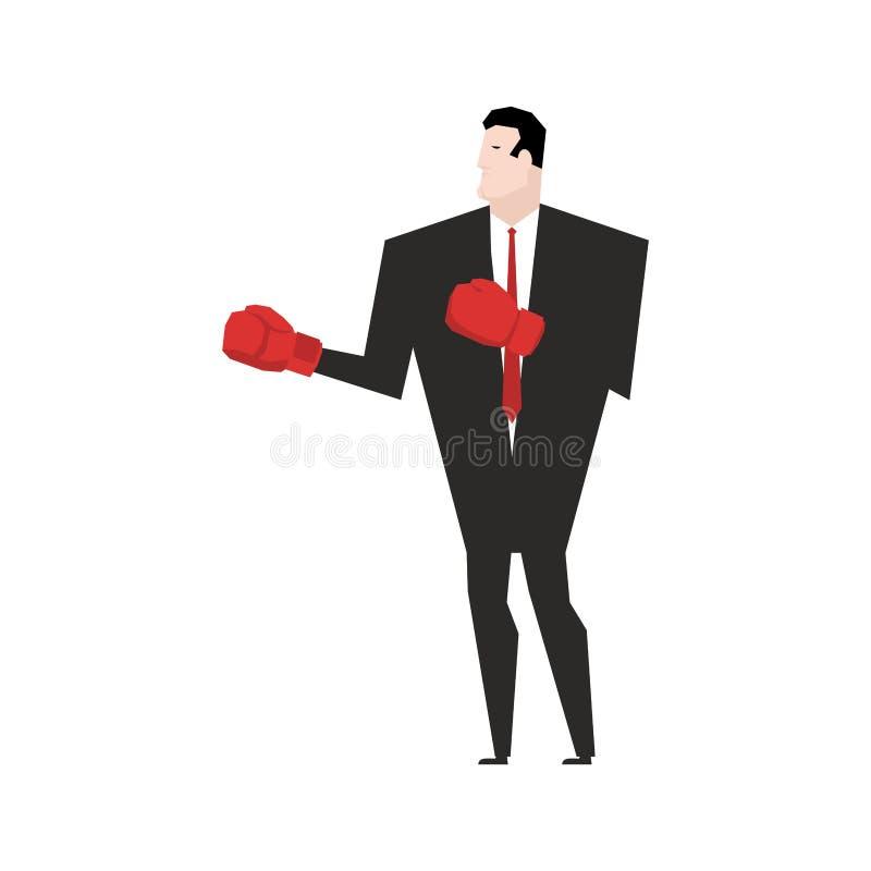 Бой дела перчатки принципиальной схемы конкуренции бизнесмена бокса агрессивности Бой офиса иллюстрация штока