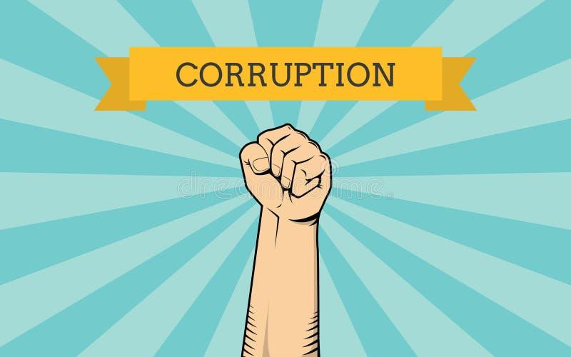Бой для иллюстрации коррупции при одиночная выставка руки воюя против ее бесплатная иллюстрация