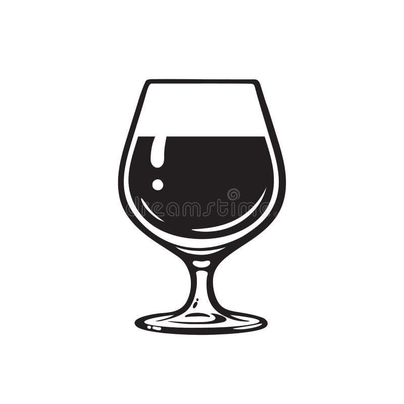 Бокал вина, рябиновка, коньяк или виски Значок рюмки Стекло пива Snifter r бесплатная иллюстрация