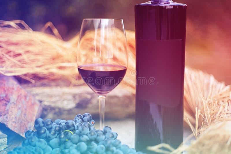 Бокал вина с бутылкой стоковые изображения