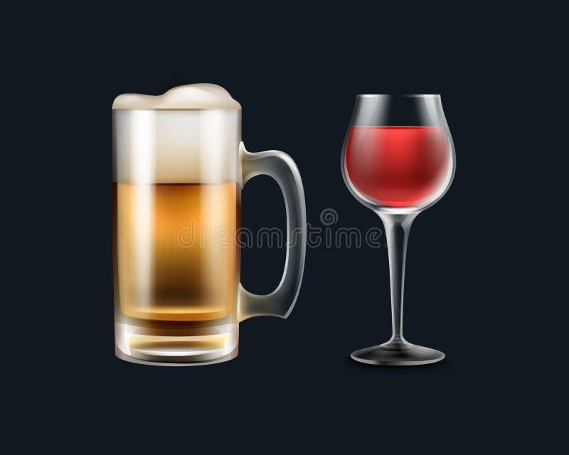 Бокал вина и пиво иллюстрация вектора