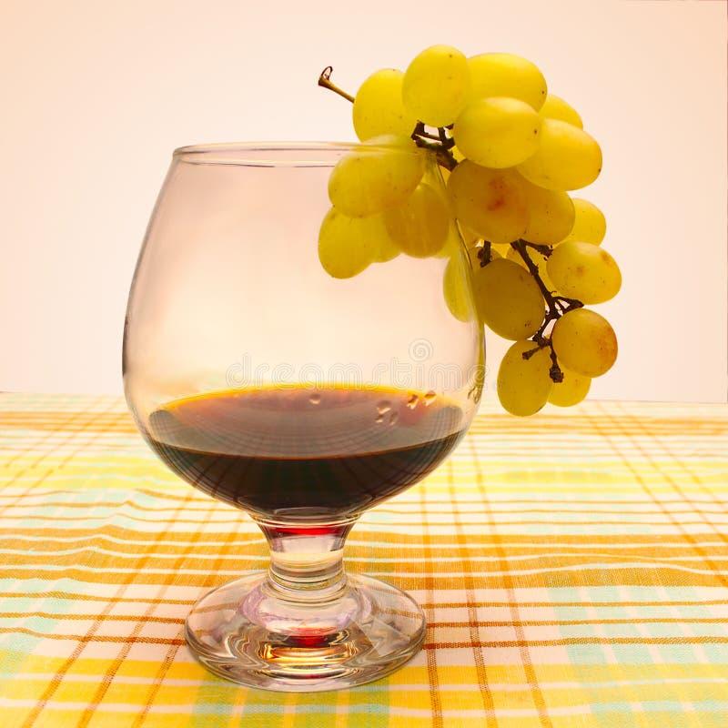 Бокал вина и связка винограда стоковая фотография