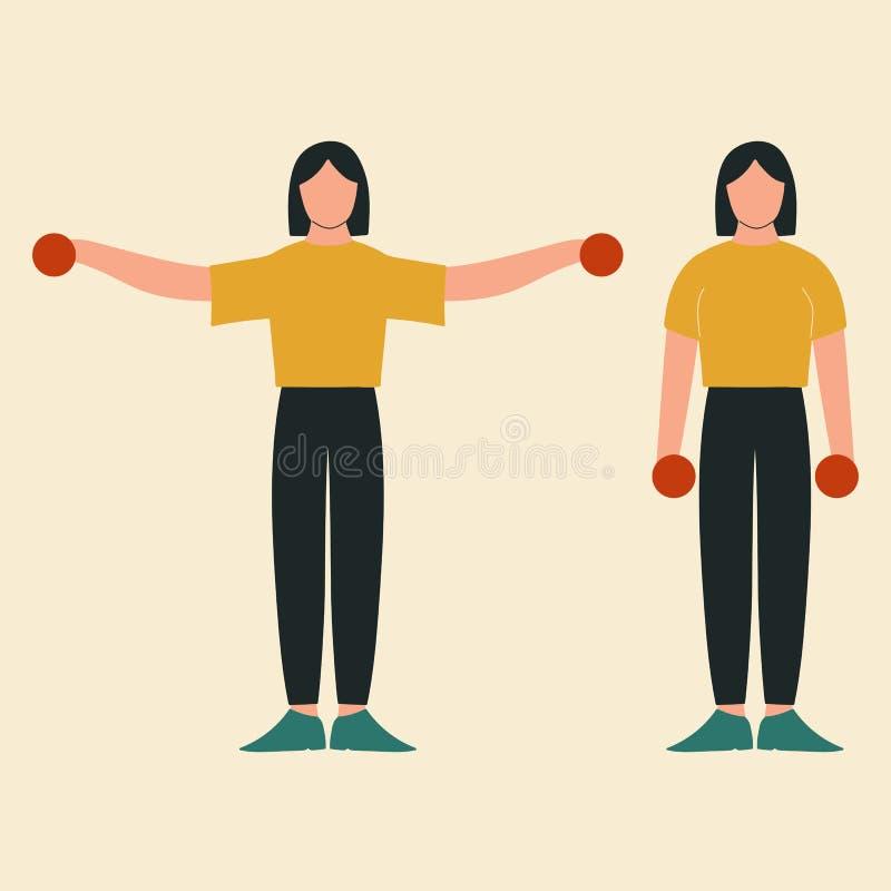 Боковое повышение Верхняя разминка тела Тренировки верхнего тела r бесплатная иллюстрация