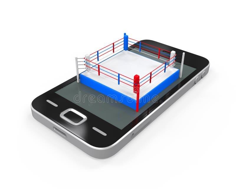 Боксерский ринг в мобильном телефоне иллюстрация вектора