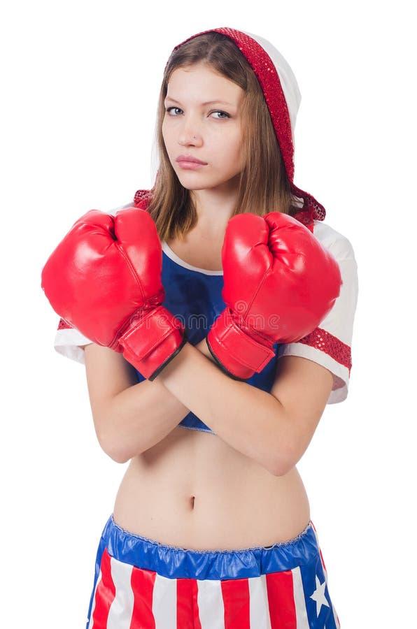 Боксер женщины в форме стоковая фотография rf