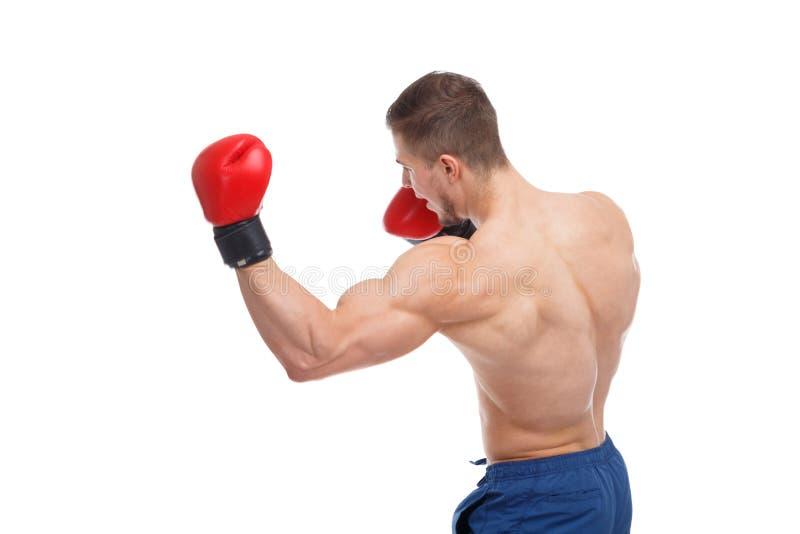 Боксер, разрабатывает дуновение с его левой рукой изолировано стоковая фотография