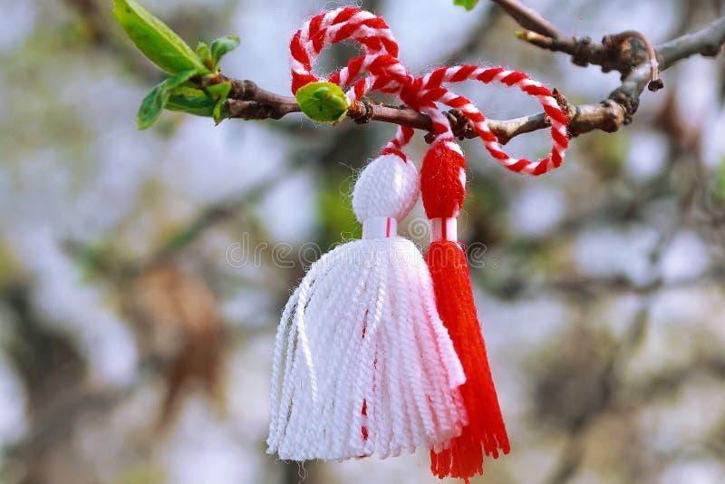 Болгарин Martenitsa на ветви дерева стоковые фотографии rf