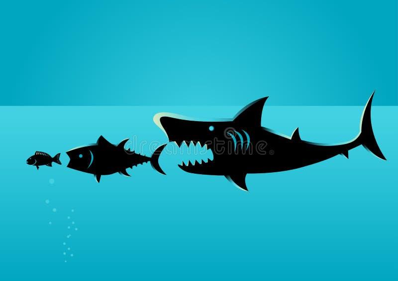 Более большая добыча рыб на более малых рыбах иллюстрация вектора
