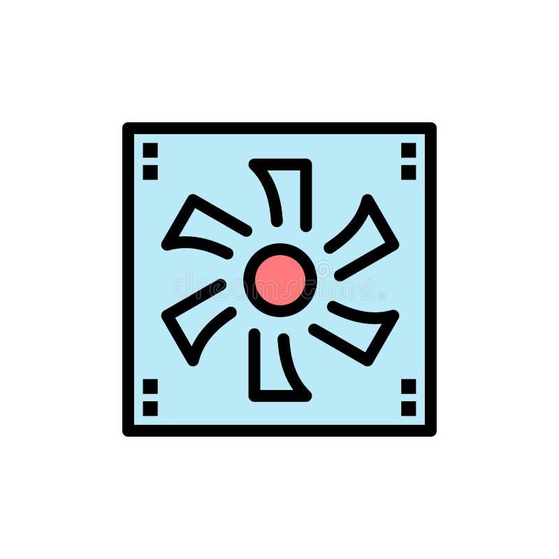 Более крутой вентилятор, компьютер, охладитель, прибор, значок цвета вентилятора плоский Шаблон знамени значка вектора бесплатная иллюстрация