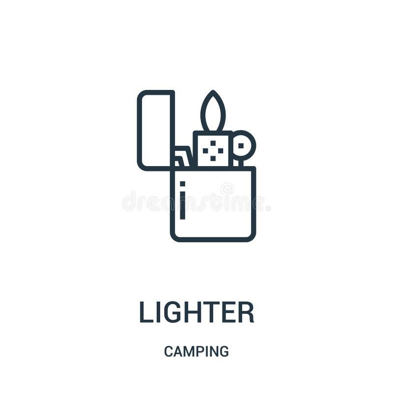 более светлый вектор значка от располагаясь лагерем собрания Тонкая линия более светлая иллюстрация вектора значка плана Линейный иллюстрация штока