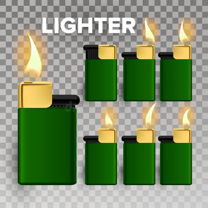 Более светлый вектор Пробел объекта огня реалистический более светлый значок 3D Горячий курильщик Металл иллюстрация бесплатная иллюстрация